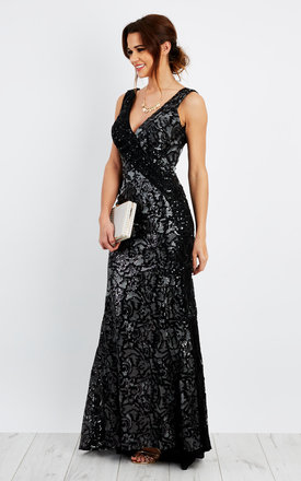 Hand beaded and sequin embellished V neck contrast lace fishtail maxi dress by D.Anna