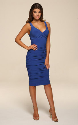 Gabby Blue Bodycon Midi Dress by Honor Gold Product photo