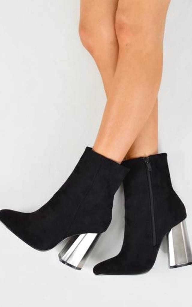 Metallic Hex Heel Ankle Boots - Black Suede by AJ | VOYAGE
