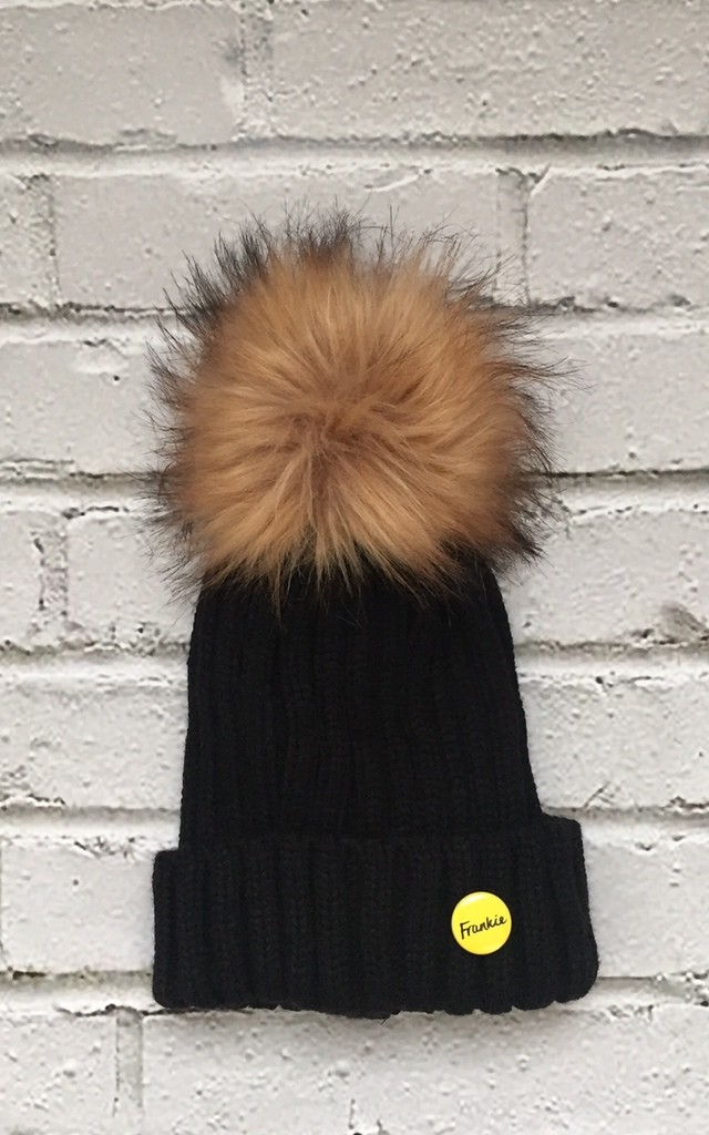 c39602a6042 Beanie hat with detachable faux fur pom by Frankies Brand