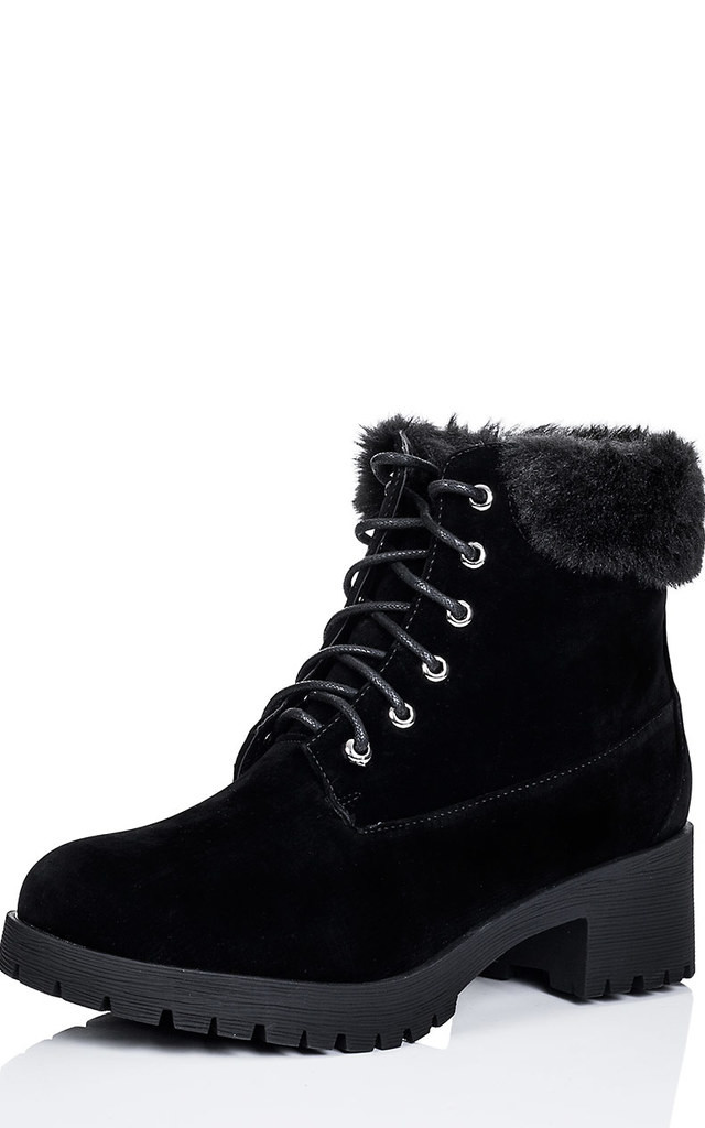 DEVILS Lace Up Cleated Sole Block Heel Combat Worker Walking Ankle Boots Shoes - Black Suede Style by SpyLoveBuy