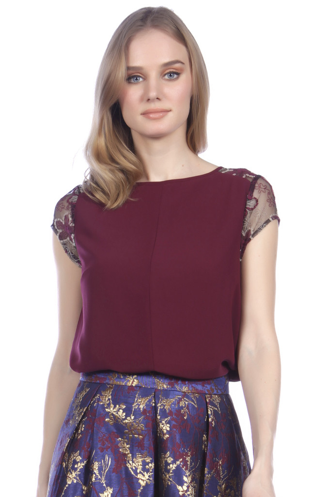 Lace Sleeve Top by Cutie London