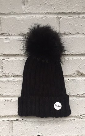 Beanie hat with detachable faux fur pom bobble hat by Frankies Brand