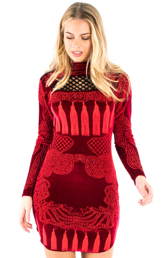 Beaded Bodycon Party Dress - Wine by Npire London