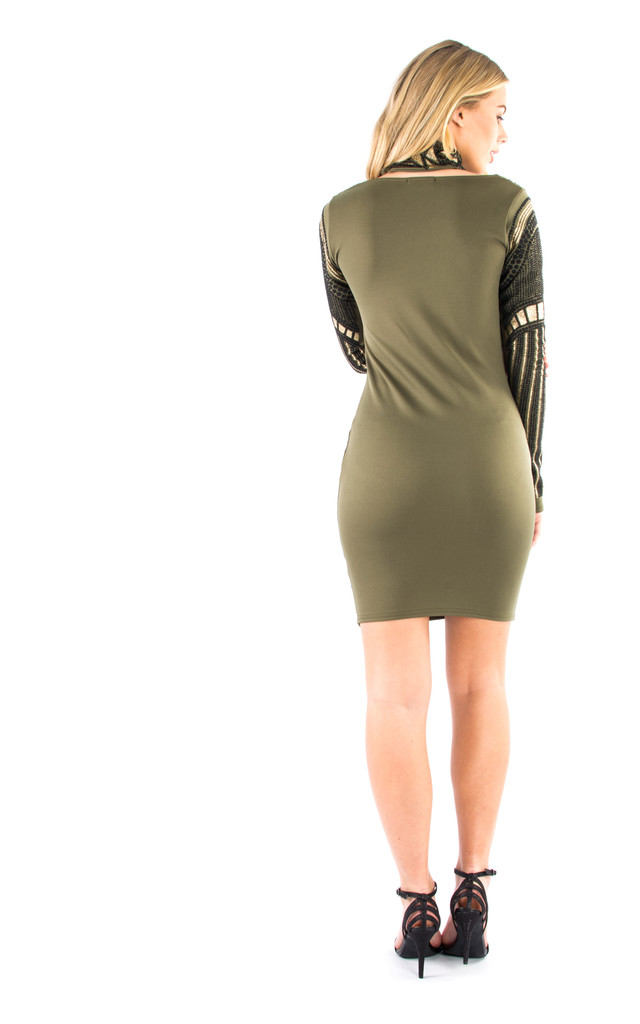 Choker Neck, Beaded Glitter Bodycon Party Dress - Khaki by Npire London