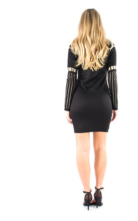 Choker Neck, Beaded Glitter Bodycon Party Dress - Black by Npire London
