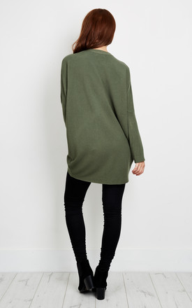 Khaki Diamond Detail Choker Baggy Jumper by Lilah Rose