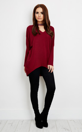 Burgundy Diamond Detail Choker Baggy Jumper by Lilah Rose