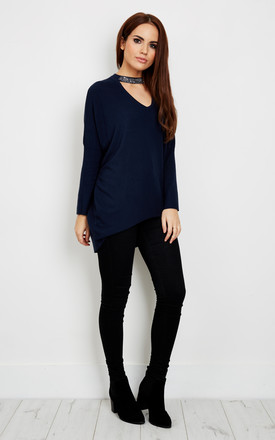 Navy Diamond Detail Choker Baggy Jumper by Bella and Blue