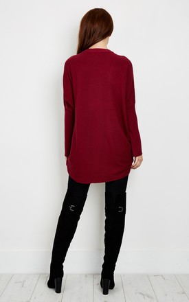 Burgundy Choker Baggy Jumper by Bella and Blue