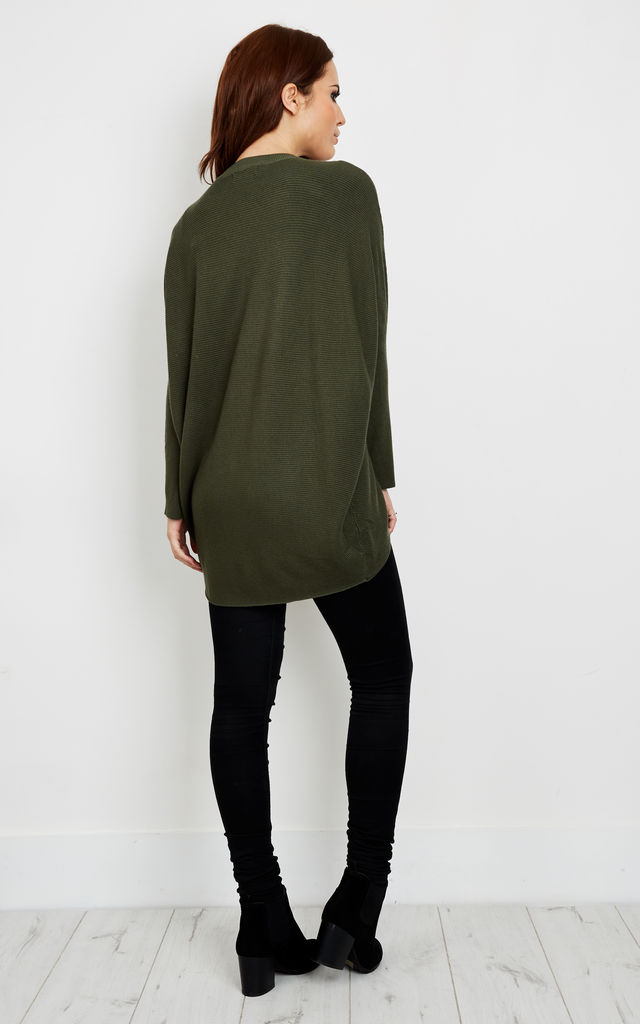 Khaki Choker Baggy Jumper by Bella and Blue