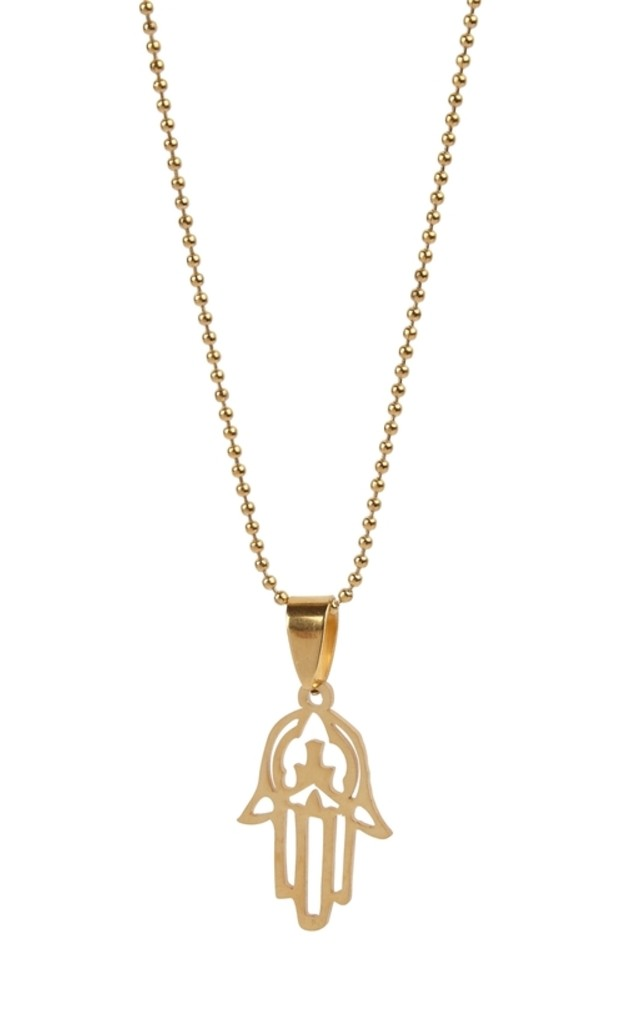 Gold Plated Hamsa Hand Pendant by Helix and Felix