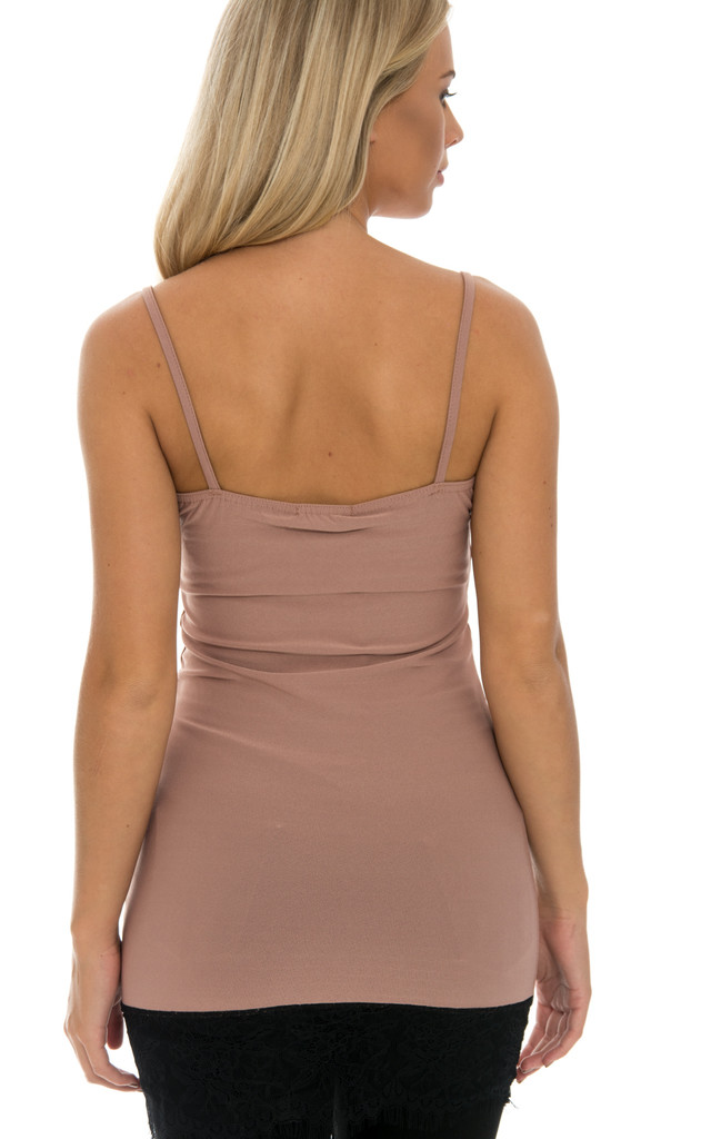 Sleeveless Lace Trim Top - Camel by Npire London