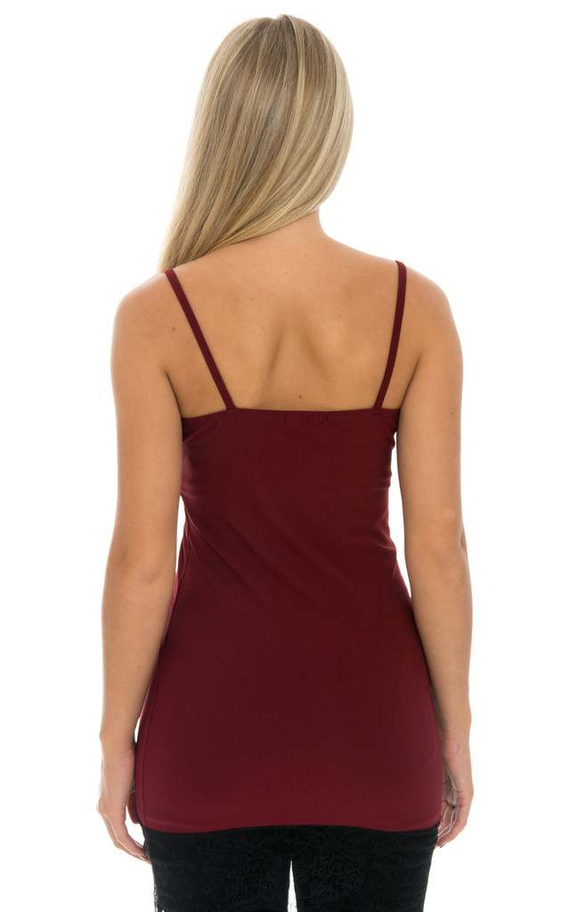Sleeveless Lace Trim Top - Wine by Npire London