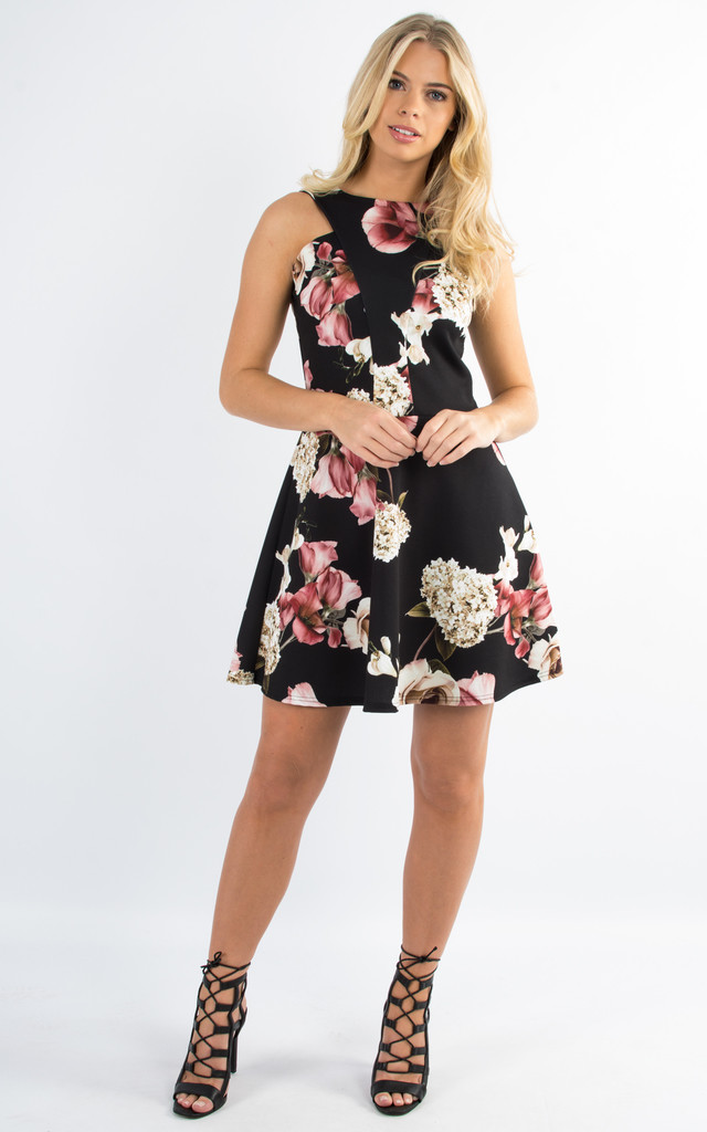 Floral Print Skater Dress by Npire London