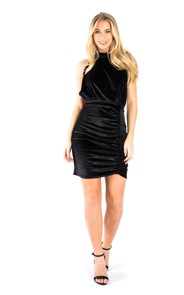 Halter Neck Mini Ruched Dress - Black by Npire London