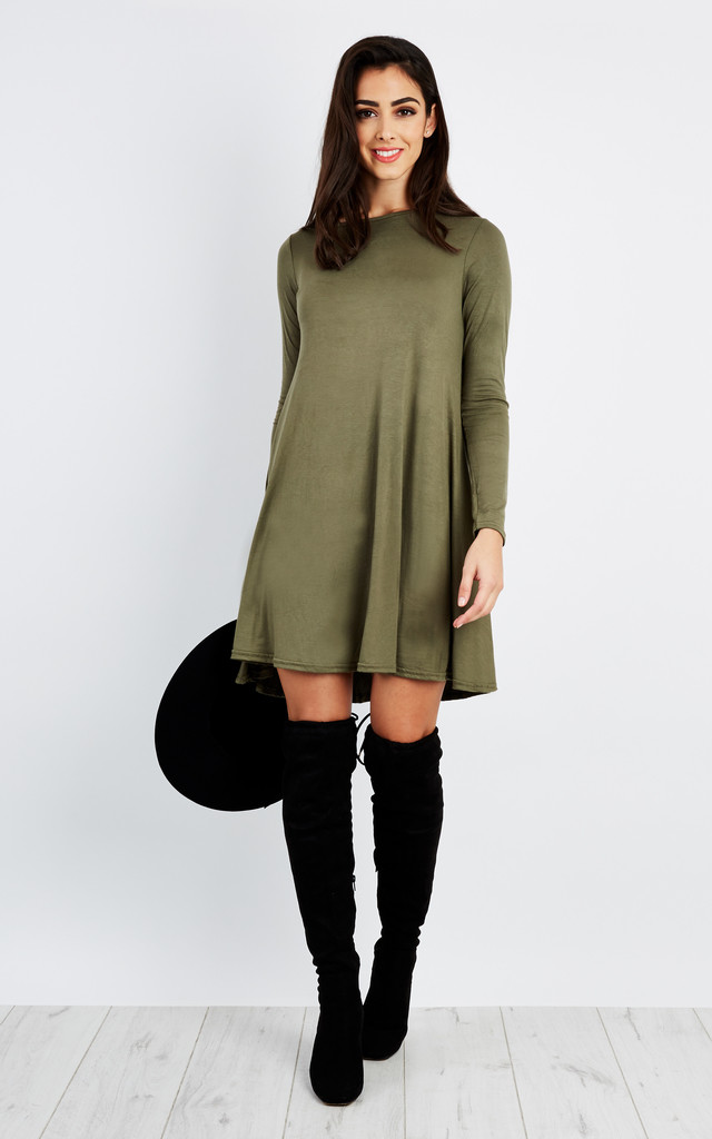 Khaki Plain Swing Dress by Lilah Rose