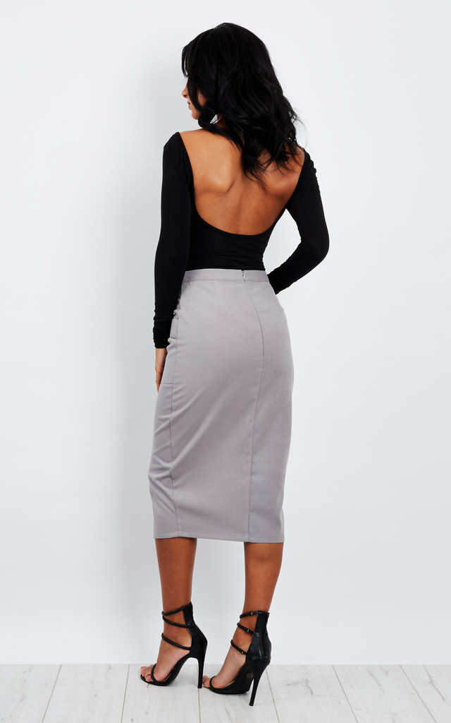 Alice Grey Pencil Skirt with Pockets by UNIQUE21