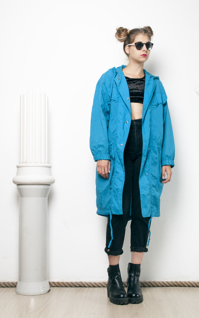 90s vintage blue parka windbreaker jacket by Pop Sick Vintage