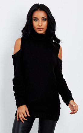 BLACK COLD SHOULDER POLO NECK KNITTED JUMPER by Lilah Rose
