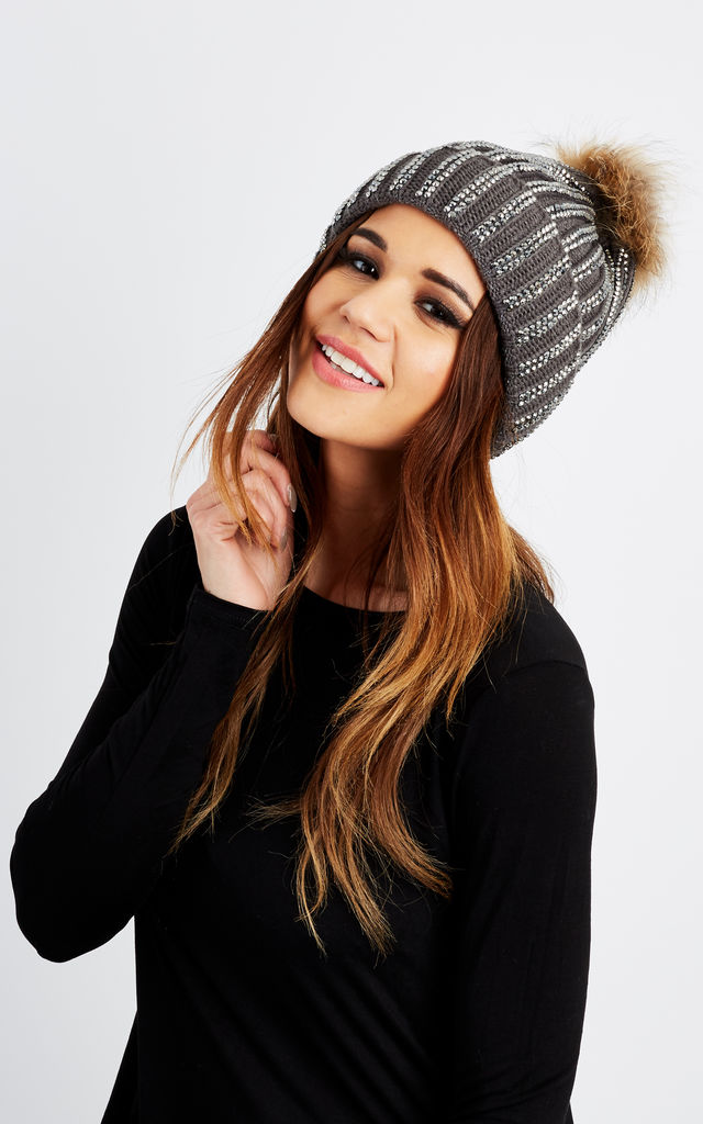 Grey Diamanté Detachable Pom Pom Hat by Lilah Rose