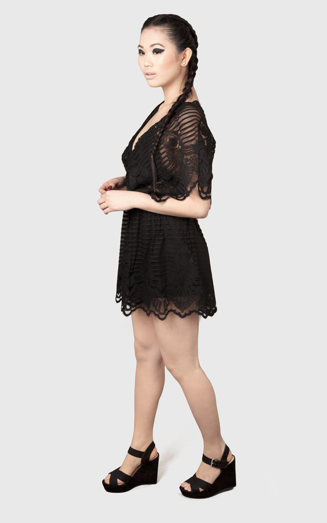 Black Kimono Lace Playsuit by Moth Clothing
