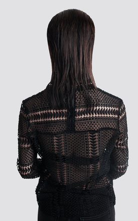 Long Sleeve Crochet Top by Moth Clothing
