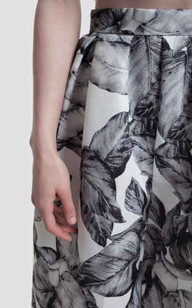 Leaf Print Flared Mid Length Skirt by Moth Clothing