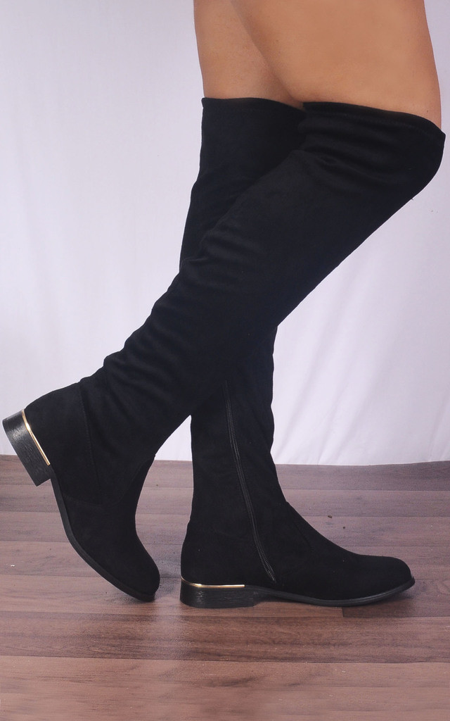 Black Over the Knee Sock Stretch Flat Boots by Shoe Closet