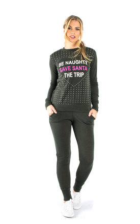 Santa Slogan Loungewear Set - Khaki by Npire London