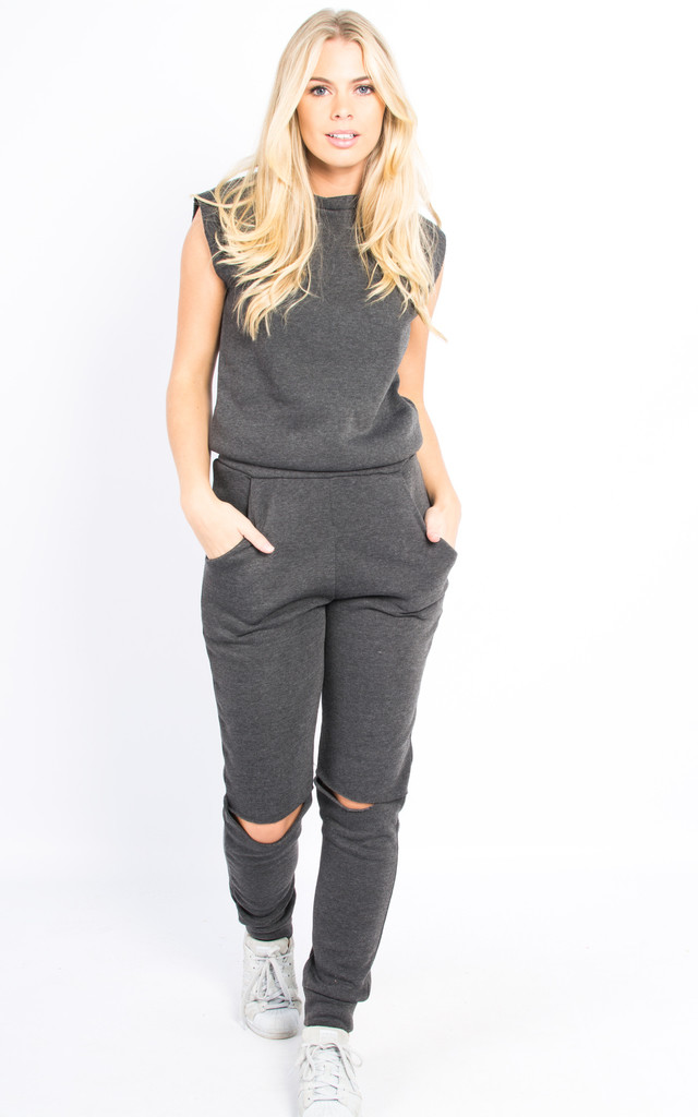 4b9941814246 ... Sleeveless Cut Out Open Back Jumpsuit - Charcoal Grey by Npire London  ...