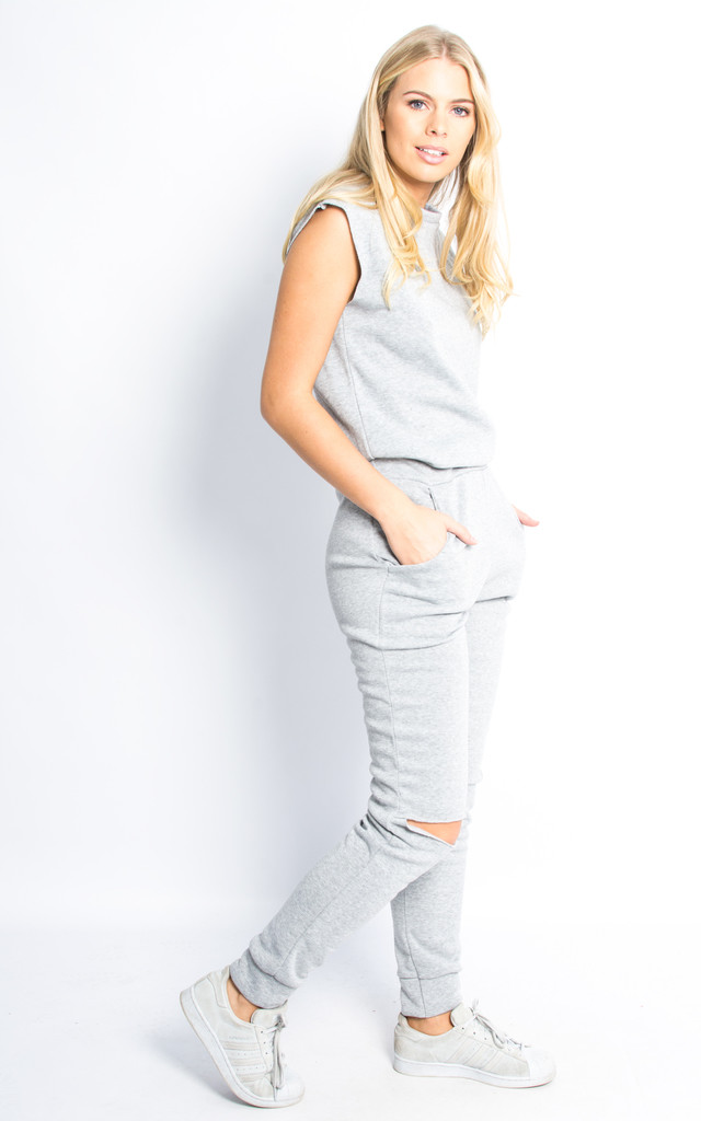 Sleeveless Cut Out Open Back Jumpsuit - Silver Grey by Npire London