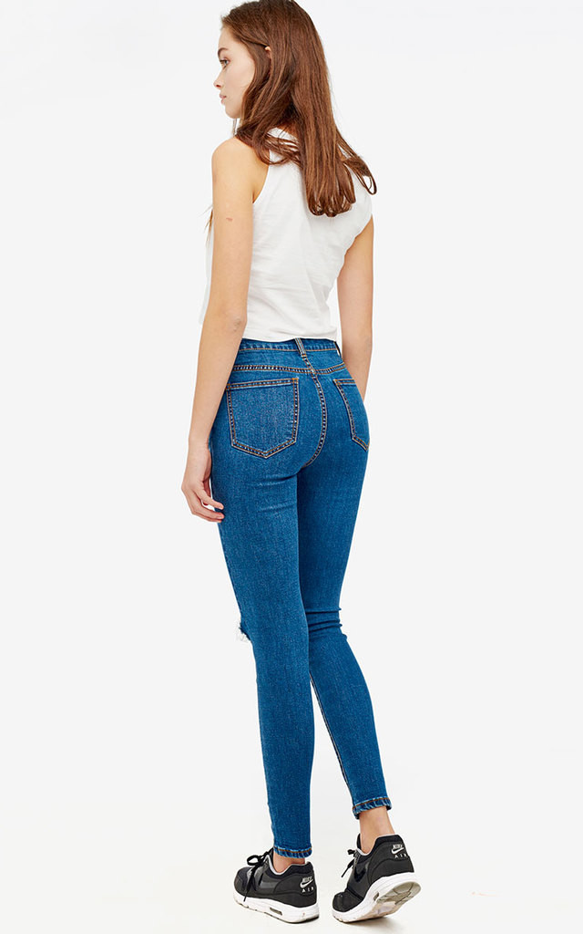Ripped Dark Wash High Waist Skinny Jeans by Momokrom