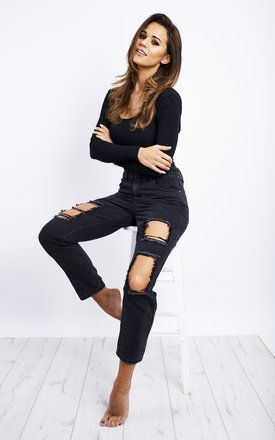 Black Straight Ripped Ankle Jeans by Noisy May Product photo