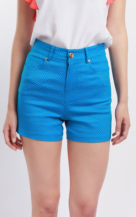 Cutie Disty Dots Blue Shorts by Cutie London