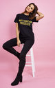 May Contain Prosecco Gold Glitter T-Shirt in Black by Love