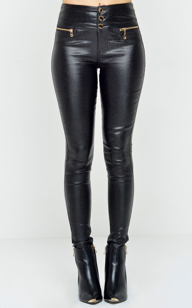 Florence High Waisted Wax Look Trousers in Black Glitter by Marc Angelo