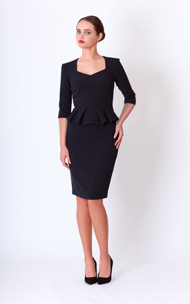 midi pencil Black Dress 3/4 Sleeve With peplum by JEVA FASHION