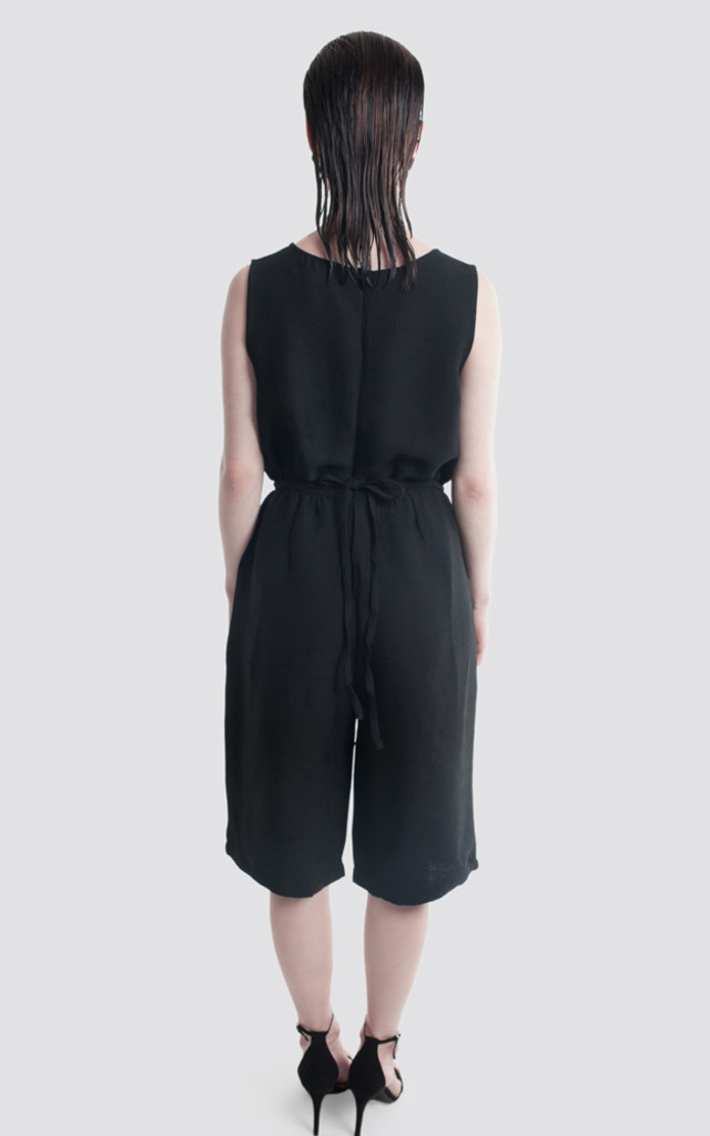 Wide leg Pleated Culotte Jumpsuit With Waistband Tye by Moth Clothing