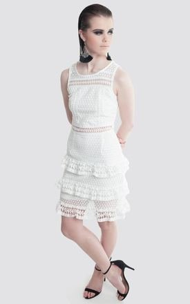 White Lace Ruffle Dress by Moth Clothing
