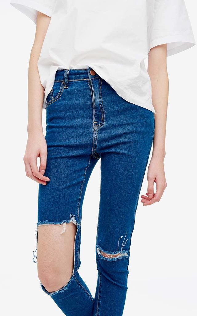 Rectangle Cut Out Ripped Knee High Waist Skinny Jeans by Momokrom