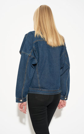 Bat Sleeve Oversized Dark Blue Denim Jacket by Momokrom