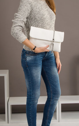 Layla Faux Leather Clutch in White by KoKo Couture