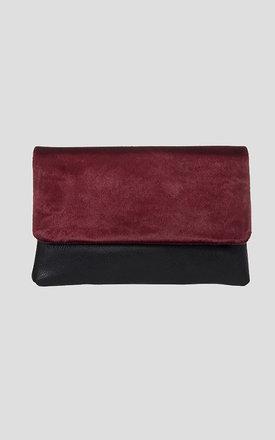 Burgundy Fur & leather Clutch bag by Moth Clothing