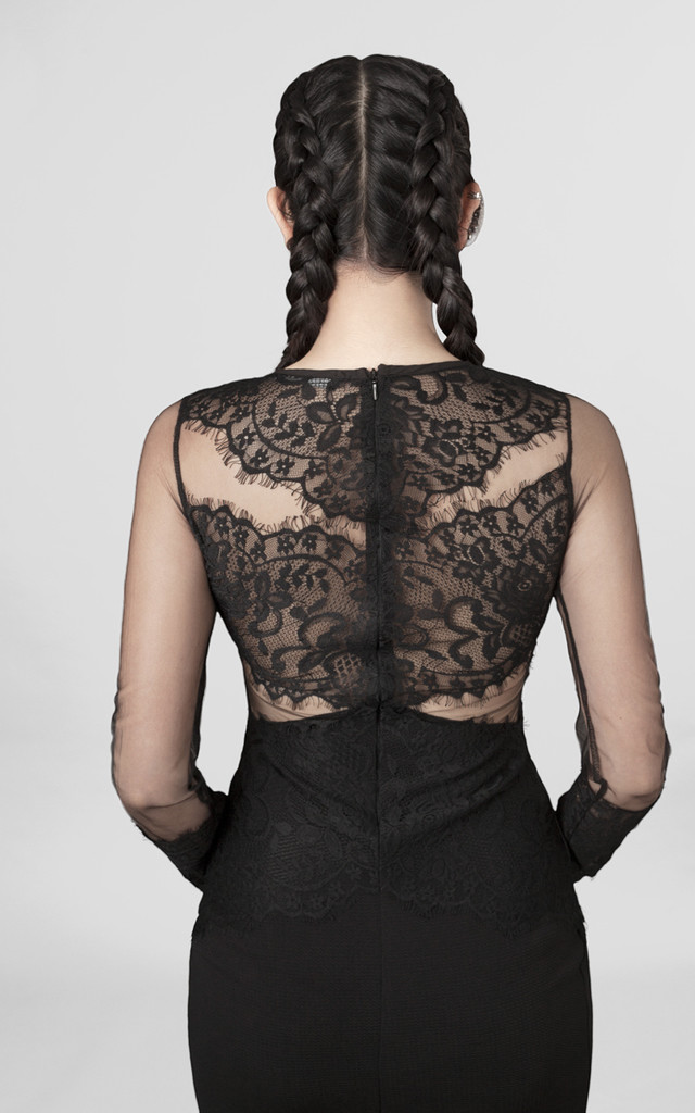 Black Lace & Mesh Bodycon Dress by Moth Clothing