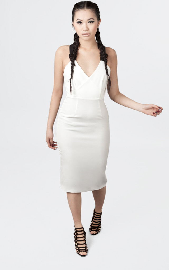 White & Black Contrast Buckle Strap Detail Bodycon Midi Dress by Moth Clothing