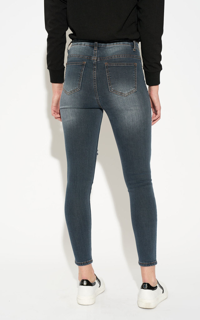 Ripped Grey Blue High Waist Skinny Jeans by Momokrom