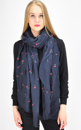 Cherry print scarf in navy by GOLDKID LONDON