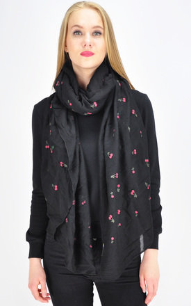 Cherry print scarf in black by GOLDKID LONDON