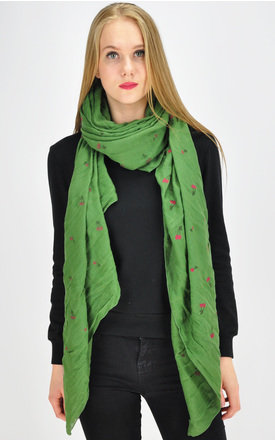 Cherry print scarf in green by GOLDKID LONDON
